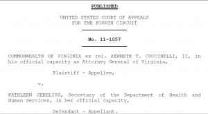 Fourth Circuit Dismisses Cuccinnelli lawsuit challenging health care law
