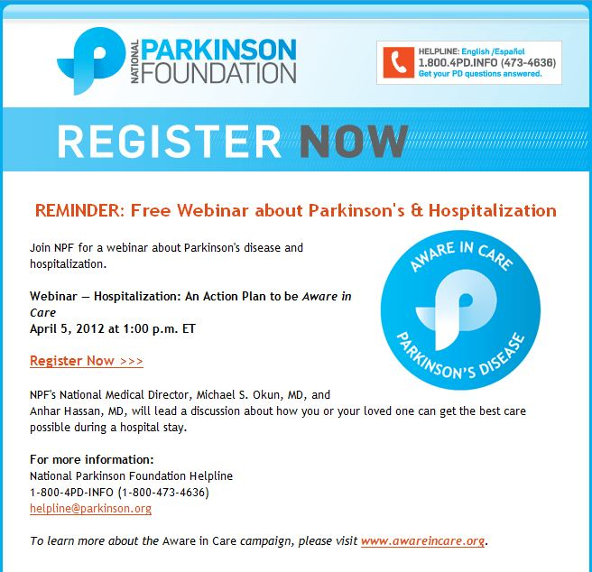 Free Webinar on Getting the Best Hospital Care for Parkinson's - April 5, 2012