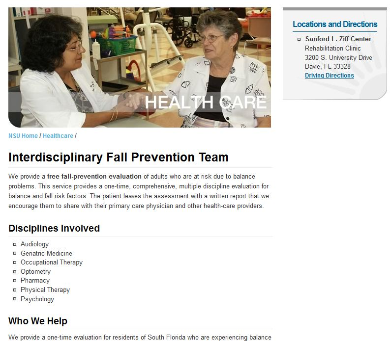 Nova Southeastern University - Free Older Adults Fall Prevention Evaluation