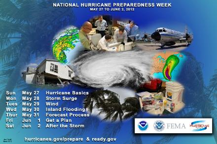 National Hurricane Preparedness Week (image courtesy of poster provided by the National Hurricane Center)