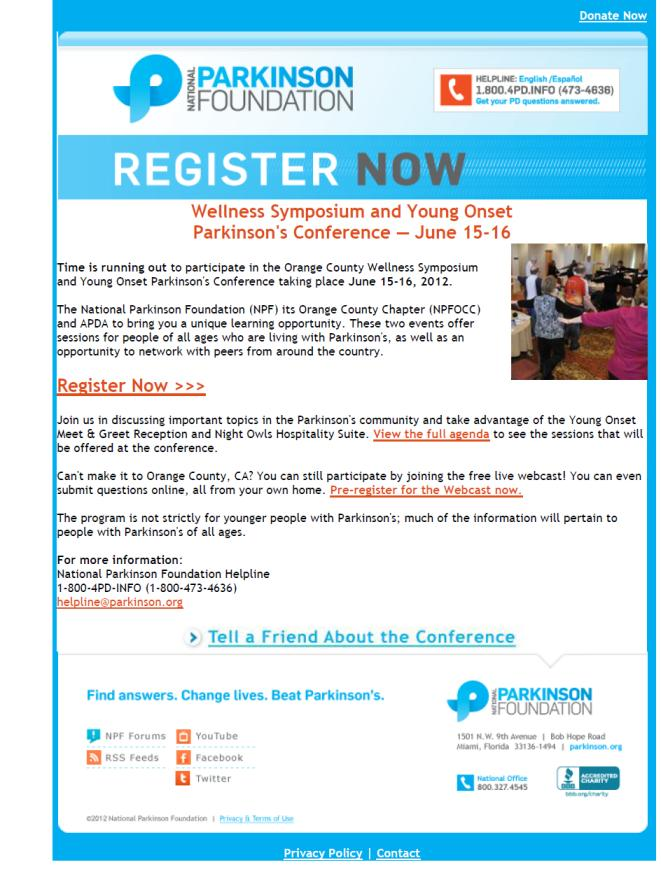 Parkinson's Wellness Symposium & Webcast - June 15-16, 2012