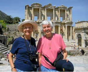 Jackie Barber with her friend Shirley Woods in happier days traveling in Turkey
