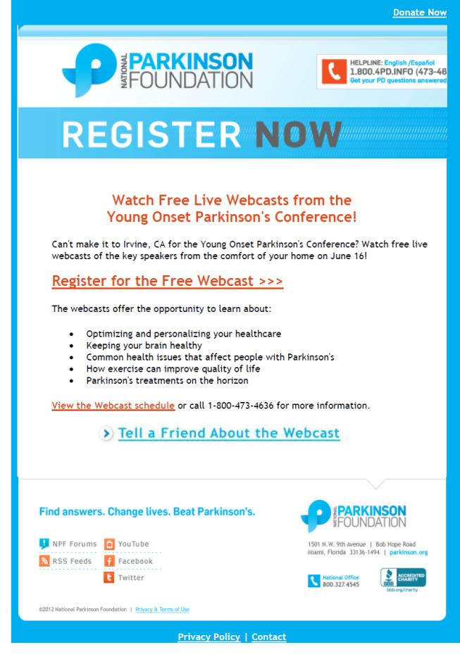 Watch Live Webcasts from the Young Onset Parkinson's Conference - June 16, 2012