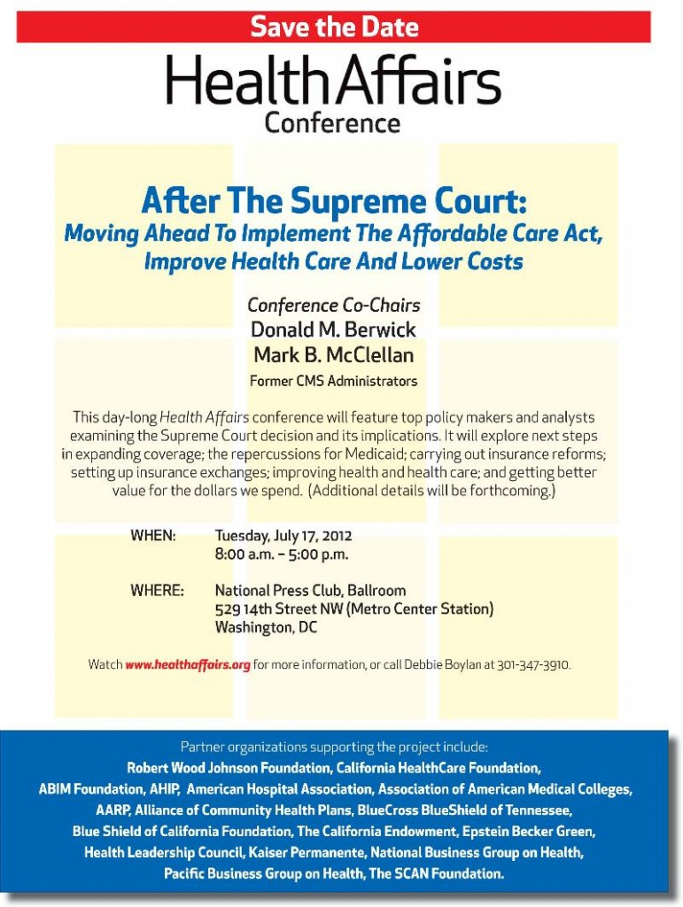 HealthAffairs Conference on Implementing Health Care Law after Supreme Court Decision