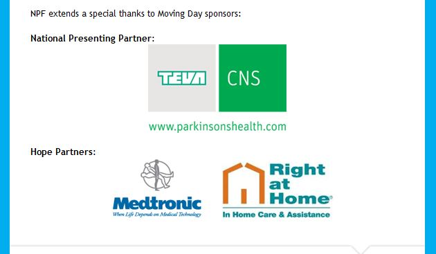 Parkinson Moving Day - Miami, August 28, 2012 - Thank you to Sponsors