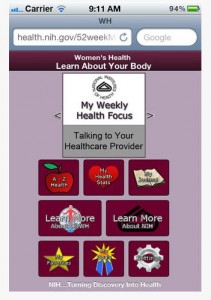 Screen Shot of new 52 Week Woman's Health App offered by National Institutes of Health
