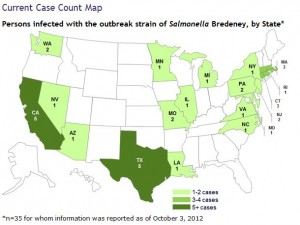 Cases of Salmonella Infections Linked to Peanuts or Peanut or Seed Products (Map from CDC)