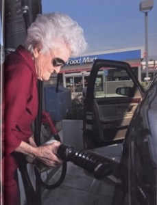 Marge Jetton - pumping gas in her own car at age 101!