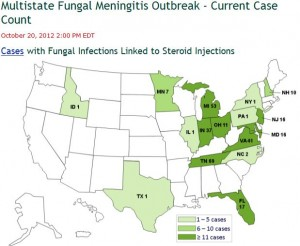 Multi-State Fungal Meningitis Outbreak - CDC Map of Cases October 20, 2012