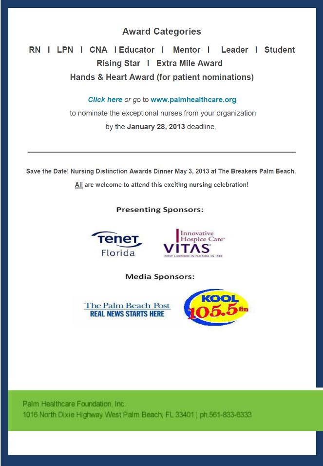 2013 Nursing Distinction Awards - Palm Healchcare Foundation
