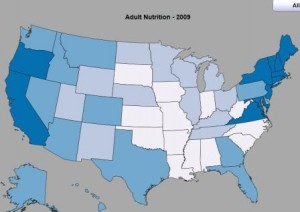 CDC Health Stats - State Rankings on Adult Nutrition (Percentage of population who ate fruits and vegetables five or more times per day)