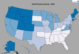 CDC Health Stats - State Rankings on Adult Physical Activity (Percentage of Adults who Engage in 30+ Minutes of exercise per day - the darker blue, the higher the percentage)