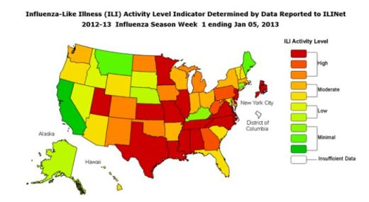 Flu Activity Levels by State - Week ending January 5, 2013 - Map from CDC