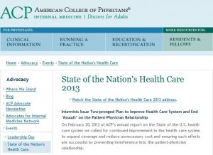 American College of Physicians - State of the Nation's Health Care Report 2013