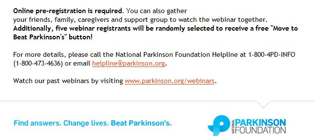 Benefits of Seeing a Neurologist - Online Webinar by National Parkinson's Foundation - Click to Register