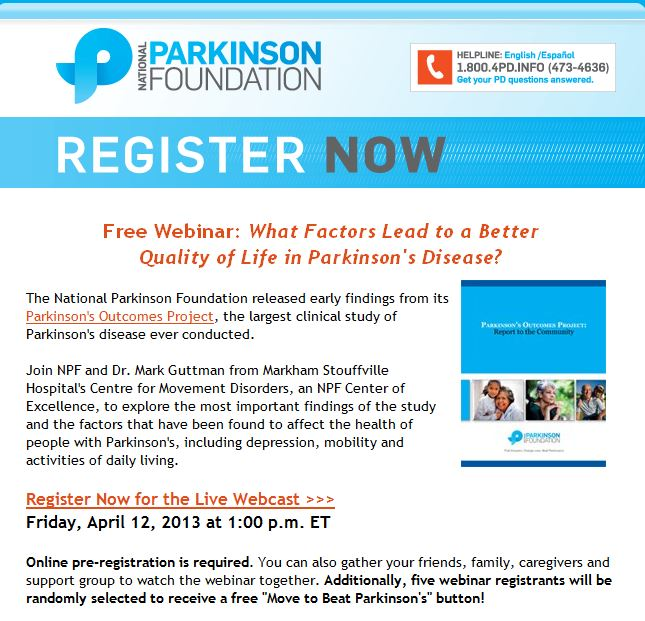 National Parkinson's Foundation - Free Webinar on What Factors Lead to a Better Quality of Life in Parkinson's Disease - Click to Register