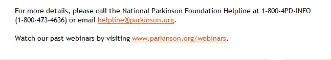 National Parkinson's Foundation - Click to watch past Free Webinars