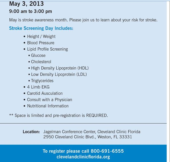 Free Stroke Screenings Offered by Cleveland Clinic Florida - May 3, 2013