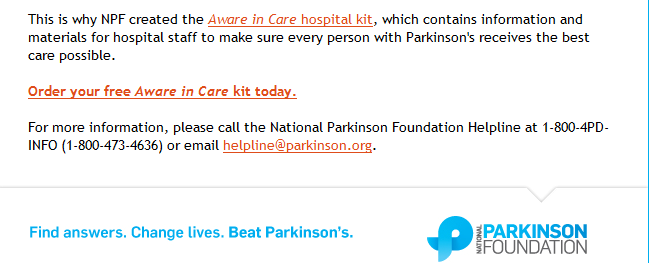 National Parkinson Foundation Issues Aware in Care Kit to Help Hospital Patients Combat Hospital Dangers