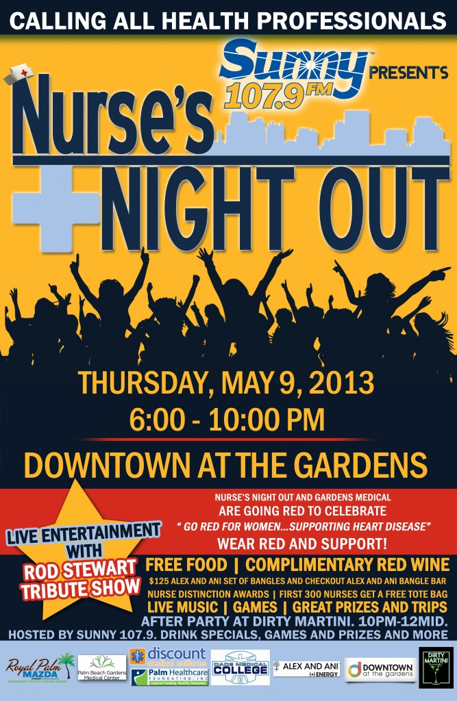 Revised Announcement: Nurses Night Out - May 9, 2013 - Palm Beach Gardens