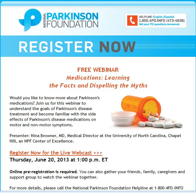 Free Wedinar on Parkinson's Medications offered by National Parkinson Foundation