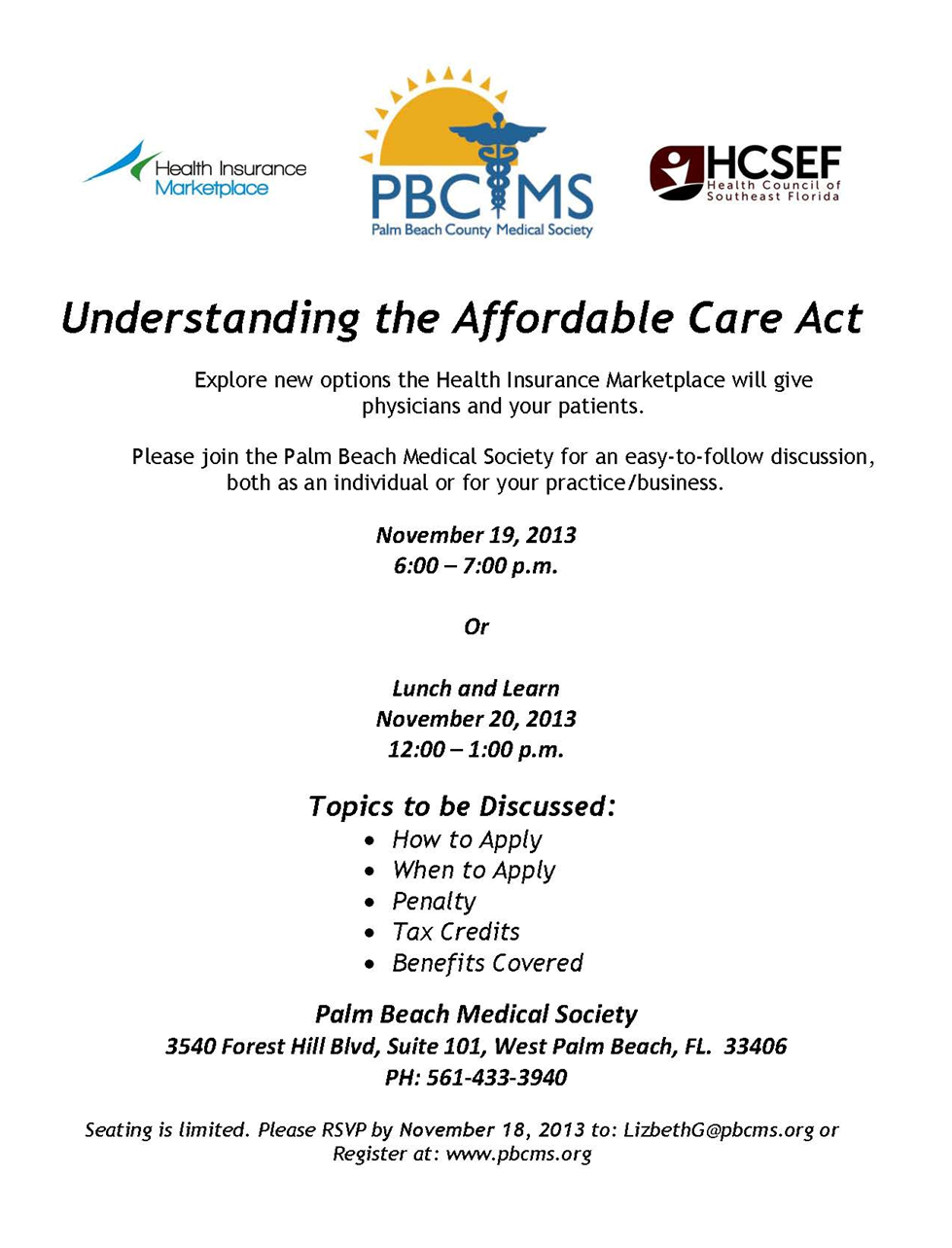 Understanding the Affordable Care Act - Seminar by Palm Beach County Medical Society